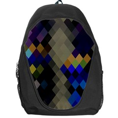 Background Of Blue Gold Brown Tan Purple Diamonds Backpack Bag by Nexatart