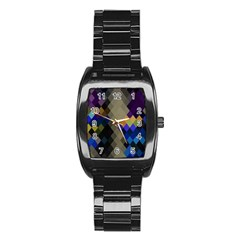 Background Of Blue Gold Brown Tan Purple Diamonds Stainless Steel Barrel Watch by Nexatart