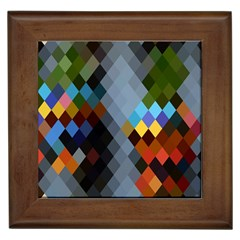 Diamond Abstract Background Background Of Diamonds In Colors Of Orange Yellow Green Blue And More Framed Tiles by Nexatart