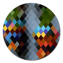 Diamond Abstract Background Background Of Diamonds In Colors Of Orange Yellow Green Blue And More Magnet 5  (round) by Nexatart