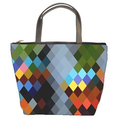 Diamond Abstract Background Background Of Diamonds In Colors Of Orange Yellow Green Blue And More Bucket Bags by Nexatart