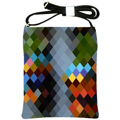 Diamond Abstract Background Background Of Diamonds In Colors Of Orange Yellow Green Blue And More Shoulder Sling Bags by Nexatart
