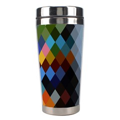 Diamond Abstract Background Background Of Diamonds In Colors Of Orange Yellow Green Blue And More Stainless Steel Travel Tumblers