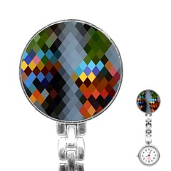Diamond Abstract Background Background Of Diamonds In Colors Of Orange Yellow Green Blue And More Stainless Steel Nurses Watch