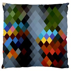 Diamond Abstract Background Background Of Diamonds In Colors Of Orange Yellow Green Blue And More Large Flano Cushion Case (two Sides) by Nexatart