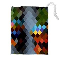 Diamond Abstract Background Background Of Diamonds In Colors Of Orange Yellow Green Blue And More Drawstring Pouches (xxl) by Nexatart