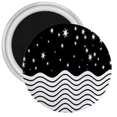 Black And White Waves And Stars Abstract Backdrop Clipart 3  Magnets by Nexatart