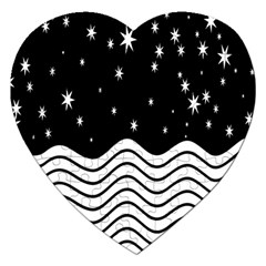Black And White Waves And Stars Abstract Backdrop Clipart Jigsaw Puzzle (heart) by Nexatart