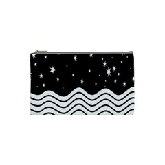 Black And White Waves And Stars Abstract Backdrop Clipart Cosmetic Bag (small)  by Nexatart