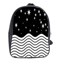 Black And White Waves And Stars Abstract Backdrop Clipart School Bags(large)  by Nexatart