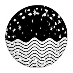 Black And White Waves And Stars Abstract Backdrop Clipart Round Filigree Ornament (two Sides) by Nexatart