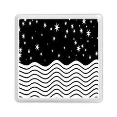 Black And White Waves And Stars Abstract Backdrop Clipart Memory Card Reader (square)  by Nexatart