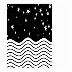 Black And White Waves And Stars Abstract Backdrop Clipart Small Garden Flag (two Sides) by Nexatart