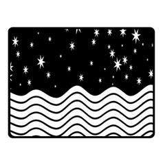 Black And White Waves And Stars Abstract Backdrop Clipart Double Sided Fleece Blanket (Small)  by Nexatart