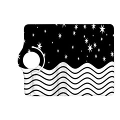 Black And White Waves And Stars Abstract Backdrop Clipart Kindle Fire Hd (2013) Flip 360 Case by Nexatart