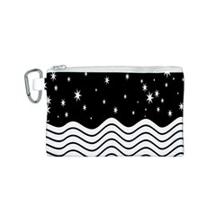 Black And White Waves And Stars Abstract Backdrop Clipart Canvas Cosmetic Bag (s) by Nexatart