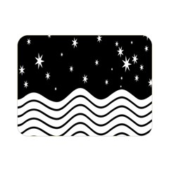 Black And White Waves And Stars Abstract Backdrop Clipart Double Sided Flano Blanket (mini)  by Nexatart