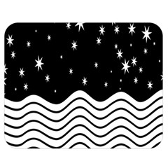 Black And White Waves And Stars Abstract Backdrop Clipart Double Sided Flano Blanket (medium)  by Nexatart