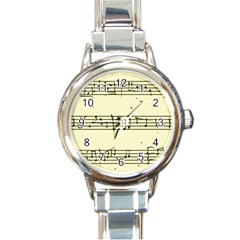 Music Notes On A Color Background Round Italian Charm Watch by Nexatart
