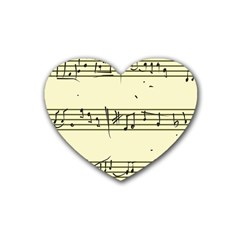 Music Notes On A Color Background Rubber Coaster (heart)  by Nexatart