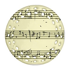 Music Notes On A Color Background Round Filigree Ornament (two Sides) by Nexatart