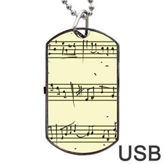 Music Notes On A Color Background Dog Tag Usb Flash (two Sides) by Nexatart