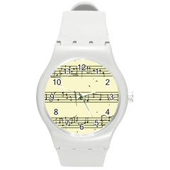 Music Notes On A Color Background Round Plastic Sport Watch (m) by Nexatart