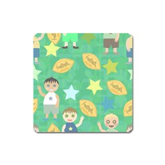 Football Kids Children Pattern Square Magnet by Nexatart