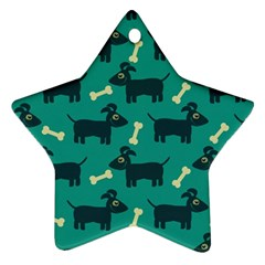 Happy Dogs Animals Pattern Ornament (star) by Nexatart