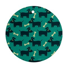 Happy Dogs Animals Pattern Round Ornament (two Sides) by Nexatart