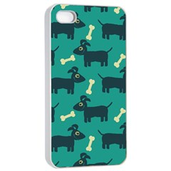 Happy Dogs Animals Pattern Apple Iphone 4/4s Seamless Case (white) by Nexatart