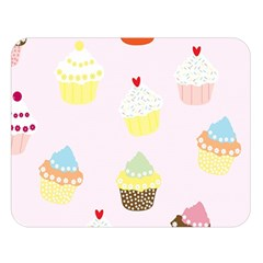 Seamless Cupcakes Wallpaper Pattern Background Double Sided Flano Blanket (large)