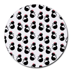 Cat Seamless Animals Pattern Round Mousepads by Nexatart