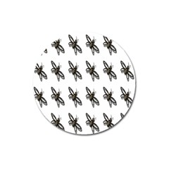 Insect Animals Pattern Magnet 3  (round) by Nexatart