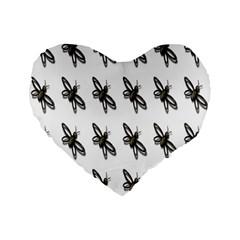 Insect Animals Pattern Standard 16  Premium Flano Heart Shape Cushions by Nexatart