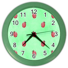 Pretty Background With A Ladybird Image Color Wall Clocks by Nexatart
