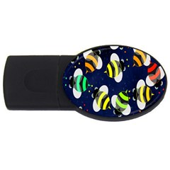 Bees Cartoon Bee Pattern Usb Flash Drive Oval (2 Gb) by Nexatart