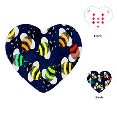 Bees Cartoon Bee Pattern Playing Cards (heart)