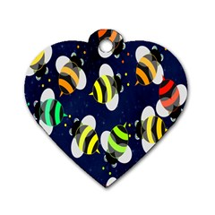 Bees Cartoon Bee Pattern Dog Tag Heart (one Side) by Nexatart
