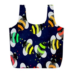 Bees Cartoon Bee Pattern Full Print Recycle Bags (l)  by Nexatart