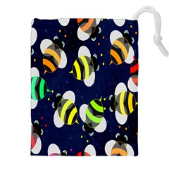 Bees Cartoon Bee Pattern Drawstring Pouches (xxl) by Nexatart