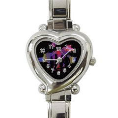 Abstract Surreal Sunset Heart Italian Charm Watch by Nexatart