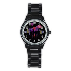 Abstract Surreal Sunset Stainless Steel Round Watch by Nexatart