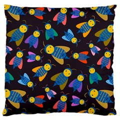 Bees Animal Insect Pattern Large Cushion Case (two Sides) by Nexatart