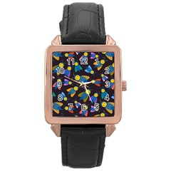 Bees Animal Insect Pattern Rose Gold Leather Watch  by Nexatart