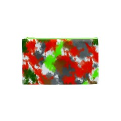Abstract Watercolor Background Wallpaper Of Splashes  Red Hues Cosmetic Bag (xs) by Nexatart