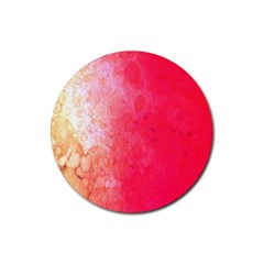 Abstract Red And Gold Ink Blot Gradient Rubber Coaster (round)  by Nexatart