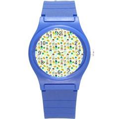 Football Kids Children Pattern Round Plastic Sport Watch (s) by Nexatart