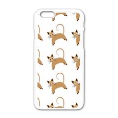 Cute Cats Seamless Wallpaper Background Pattern Apple iPhone 6/6S White Enamel Case by Nexatart