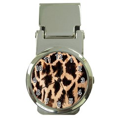 Yellow And Brown Spots On Giraffe Skin Texture Money Clip Watches by Nexatart